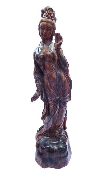柬埔寨天然沉香女佛像木雕