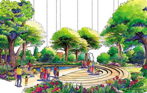 百鸟雕塑广场效果图