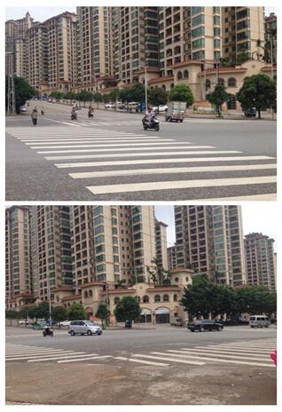 这是个丁字路口,路口没有设置红绿灯等交通设施