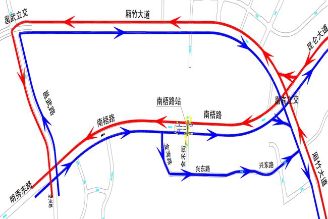 南宁地铁3号线各站点封闭施工 最全绕行线路图