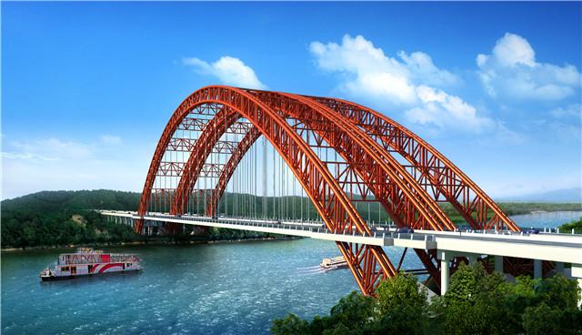 国内桥面最宽 用钢量最大的钢管混凝土拱桥拱座成功封顶